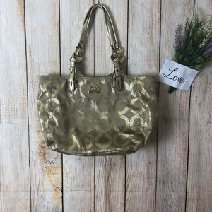 Coach Gold Metallic Tote Bag
